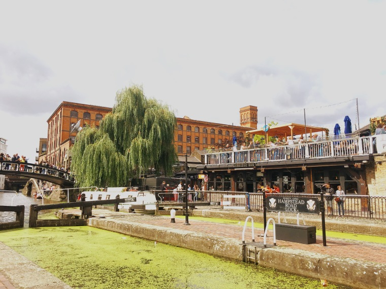 Camden Market in London, looking across the canal