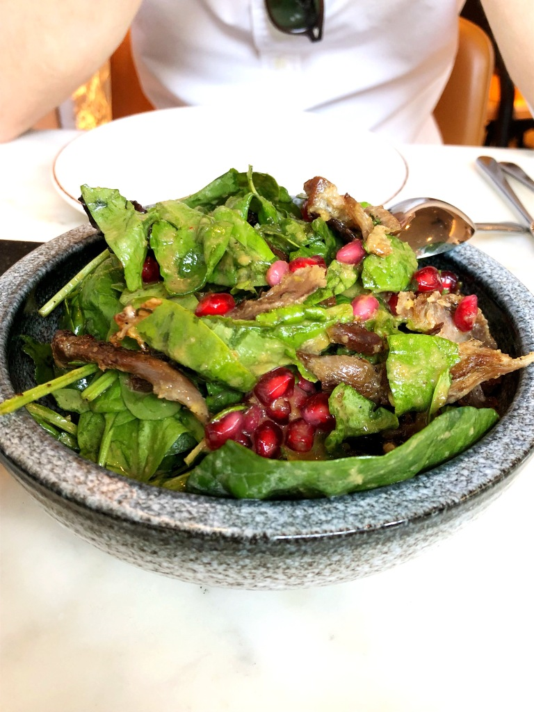 Crispy Duck and Pomegranate ensalada with papaya chilli dressing, Leicester Square Kitchen, London