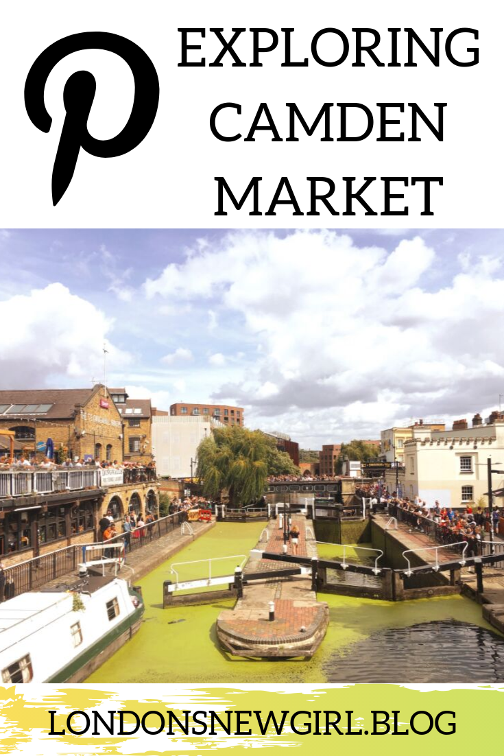 Exploring Camden Market in London; pinnable graphic