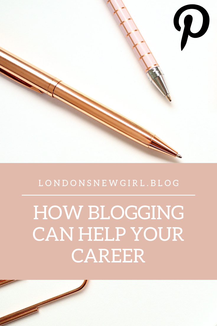 How blogging can help your career, pinnable graphic.