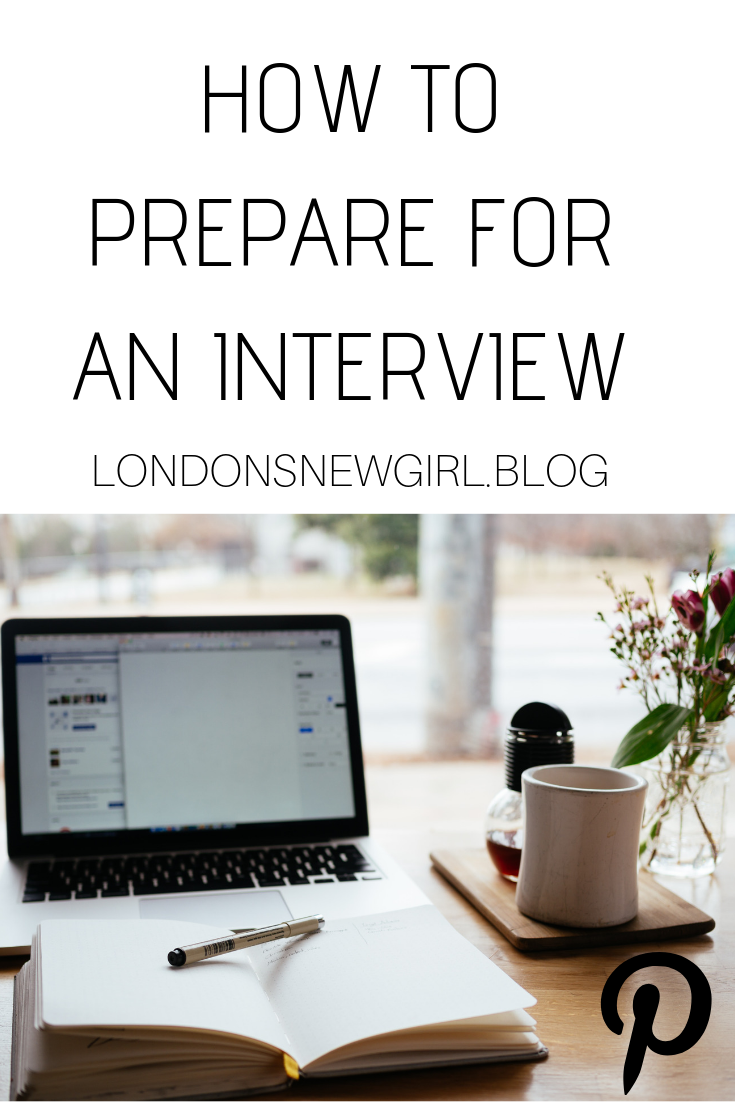 My tips on how to prepare for an interview, pinnable graphic